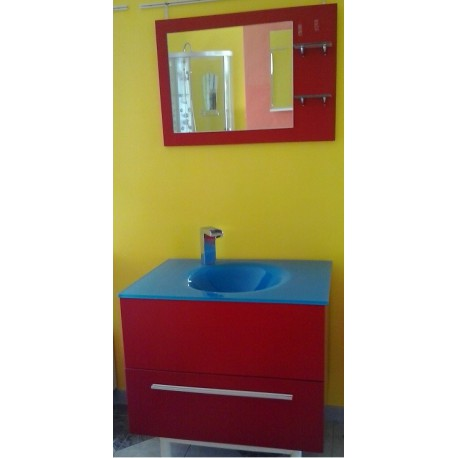 Mobile sospeso rosso lavabo vetro blu - Mobile bagno 80 ...