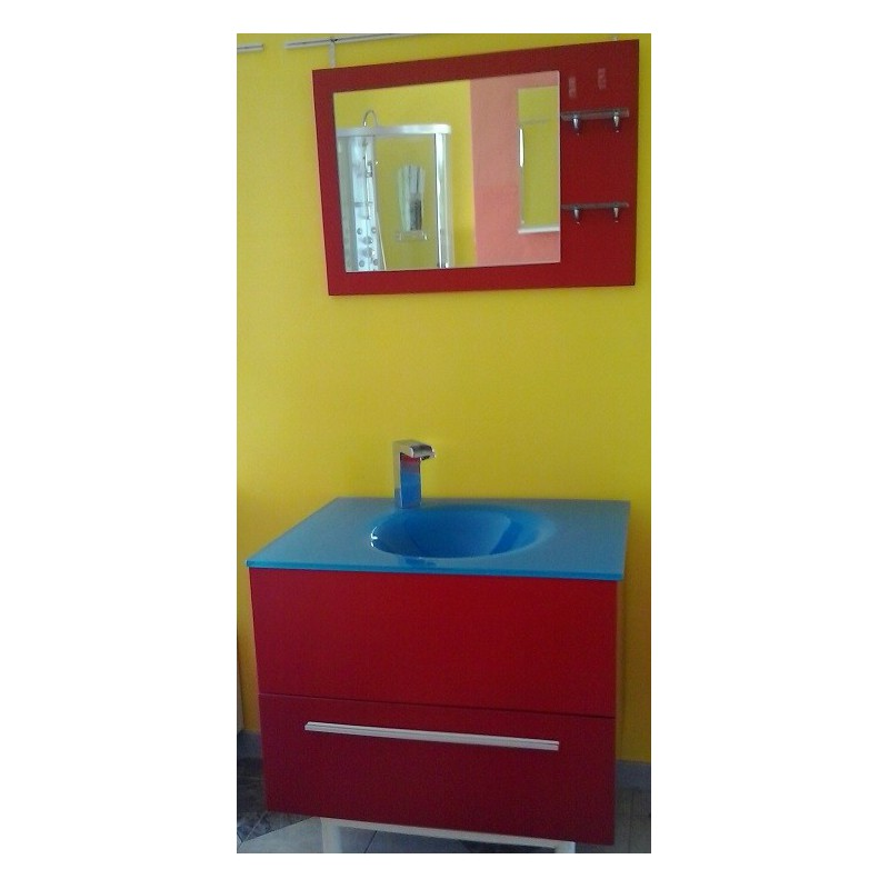 Mobile sospeso rosso lavabo vetro blu - Mobile bagno 50 cm ...